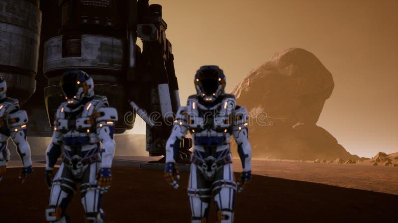Астронавты идут на поверхность Марса после приземляться в ракету Панорамный ландшафт на поверхности Марса 3d иллюстрация вектора