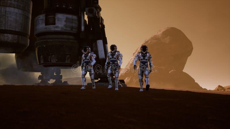 Астронавты идут на поверхность Марса после приземляться в ракету Панорамный ландшафт на поверхности Марса 3d иллюстрация штока