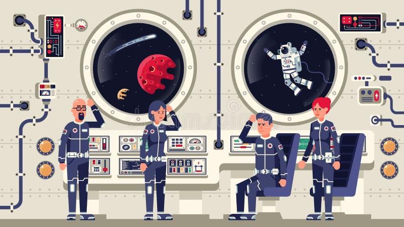 Астронавты люди и женщины на борту корабля иллюстрация штока