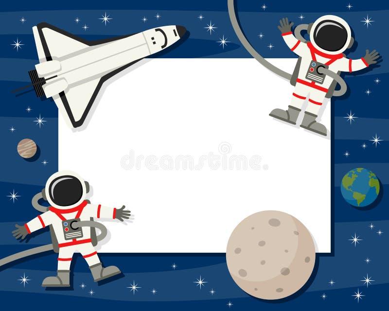 Астронавты & рамка челнока горизонтальная бесплатная иллюстрация