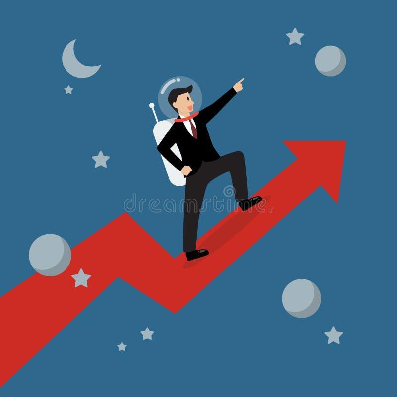 Астронавт бизнесмена стоя на растущей диаграмме иллюстрация вектора