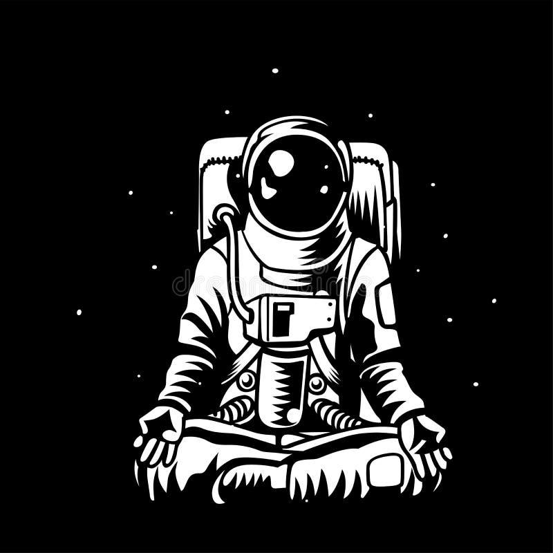 Астронавт вектора размышляя в открытой емкости иллюстрация вектора