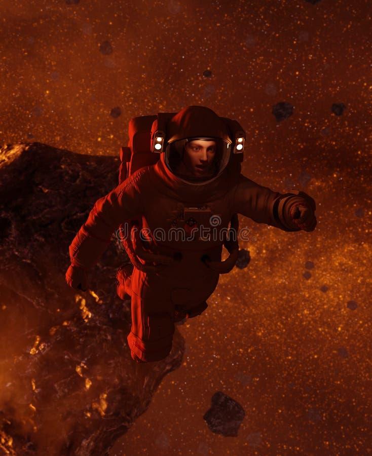 Астронавт в астероидном поле иллюстрация штока