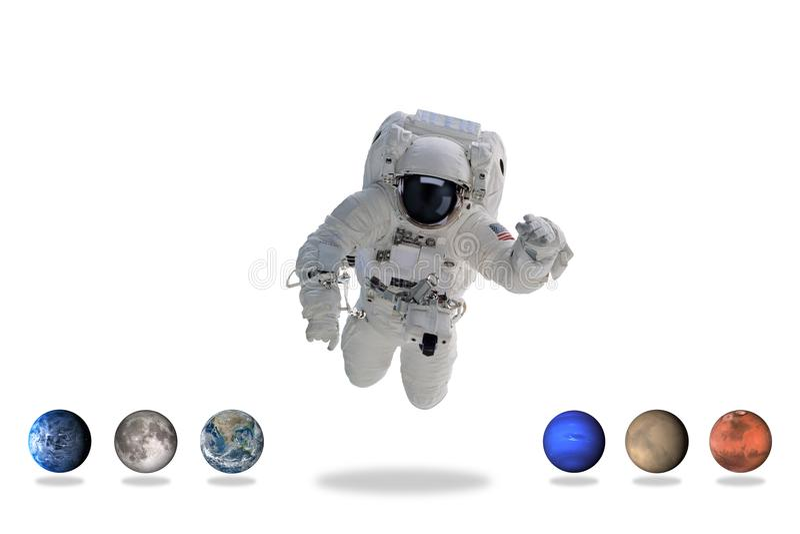 Астронавт в космическом пространстве с планетами искусство минимальное стоковые фотографии rf