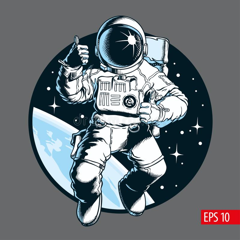 Астронавт в космосе большой пец руки предпосылки изолированный чернотой вверх Иллюстрация вектора космоса туристская иллюстрация штока