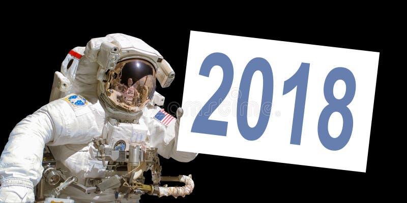Астронавт в космосе держа белую доску 2018 стоковые изображения rf