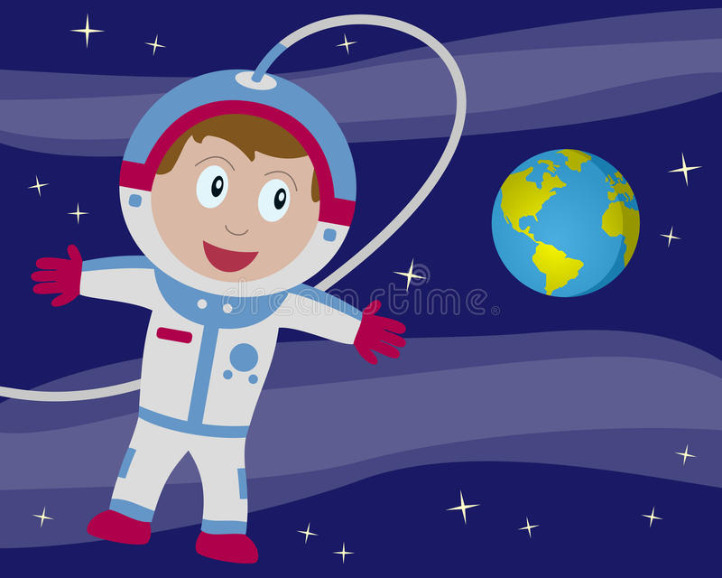 Астронавт в космосе с землей иллюстрация вектора