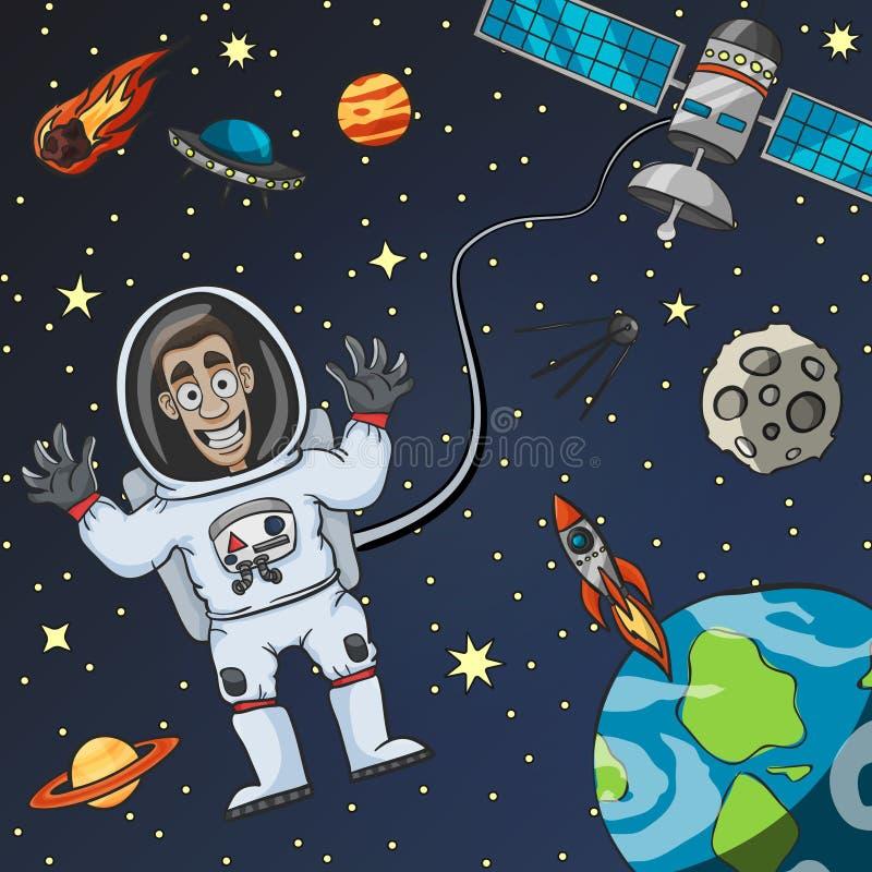 Астронавт в космосе иллюстрация штока