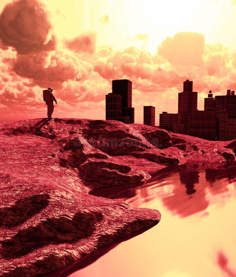 Астронавт в получившемся отказ городе иллюстрация штока