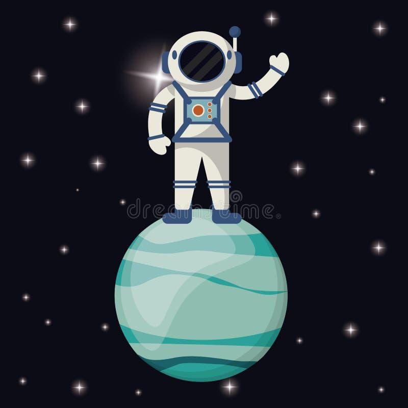 астронавт в планете Урана иллюстрация вектора