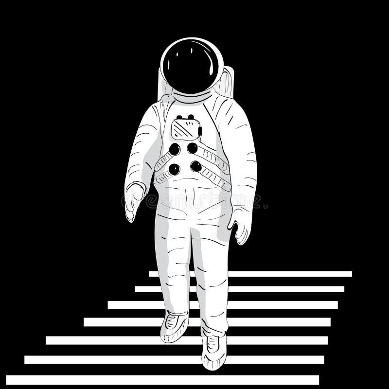 Астронавт в шлеме против черной предпосылки идет вниз с белых лестниц стоковая фотография rf