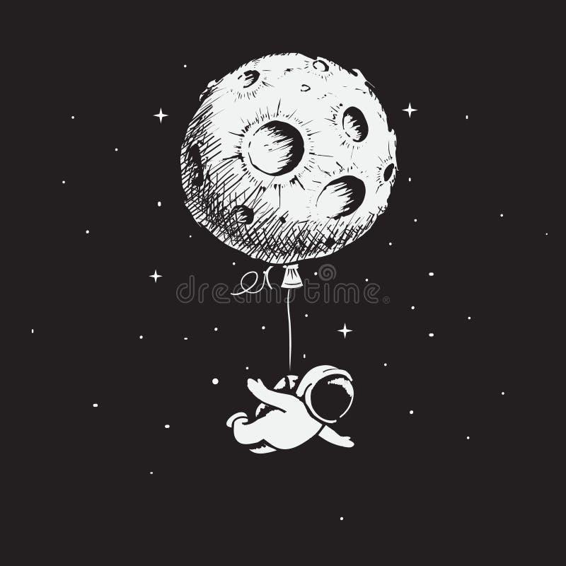 Астронавт летает с луной иллюстрация вектора