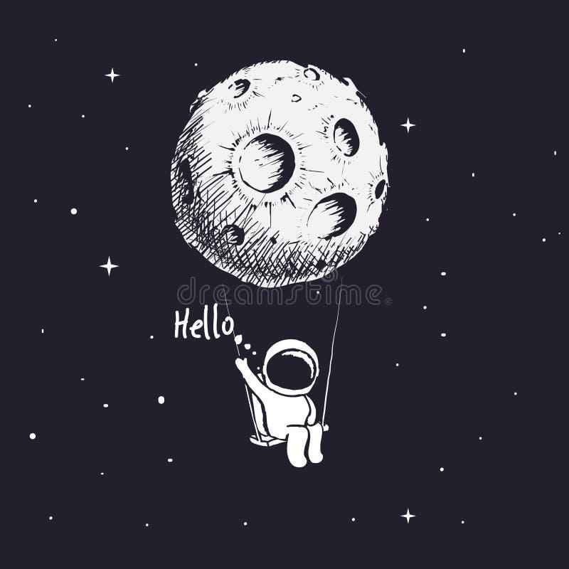 Астронавт ехать качание иллюстрация вектора