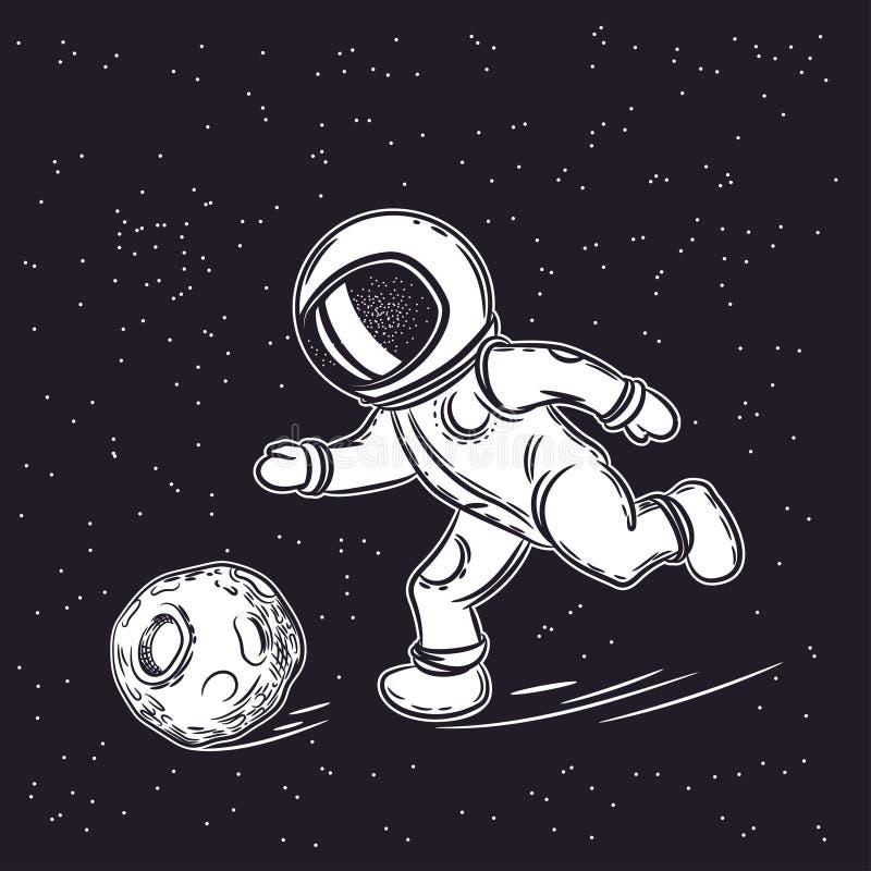 Астронавт играет футбол Иллюстрация вектора космоса E иллюстрация штока