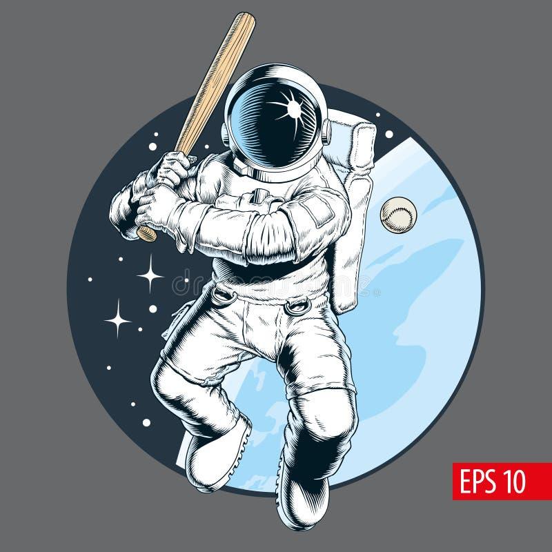 Астронавт играя бейсбол в космосе также вектор иллюстрации притяжки corel иллюстрация штока