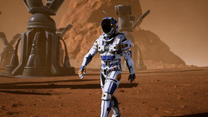 Астронавт идет на поверхность Марса через пыльную бурю за гигантскими панелями солнечных батарей Панорамный ландшафт на иллюстрация штока