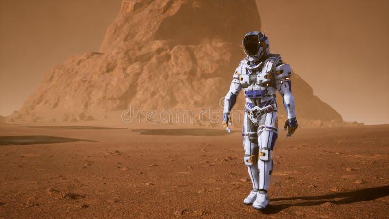 Астронавт идет на поверхность Марса через пыльную бурю за гигантскими панелями солнечных батарей Панорамный ландшафт на бесплатная иллюстрация