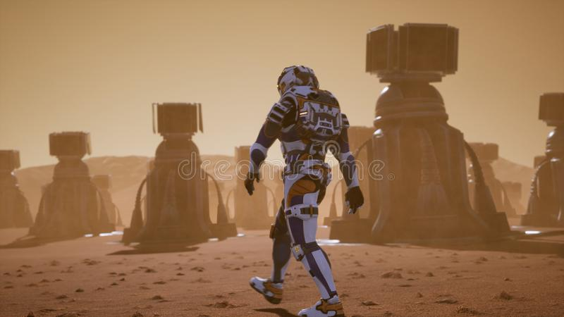 Астронавт идет на поверхность Марса через пыльную бурю за гигантскими панелями солнечных батарей Панорамный ландшафт на иллюстрация вектора