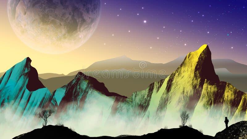 Астронавт исследователя в ландшафте научной фантастики с планетой и горами иллюстрация вектора