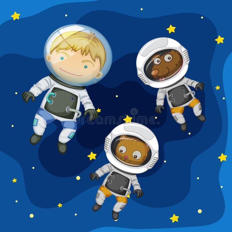 Астронавт и любимчик в космосе бесплатная иллюстрация