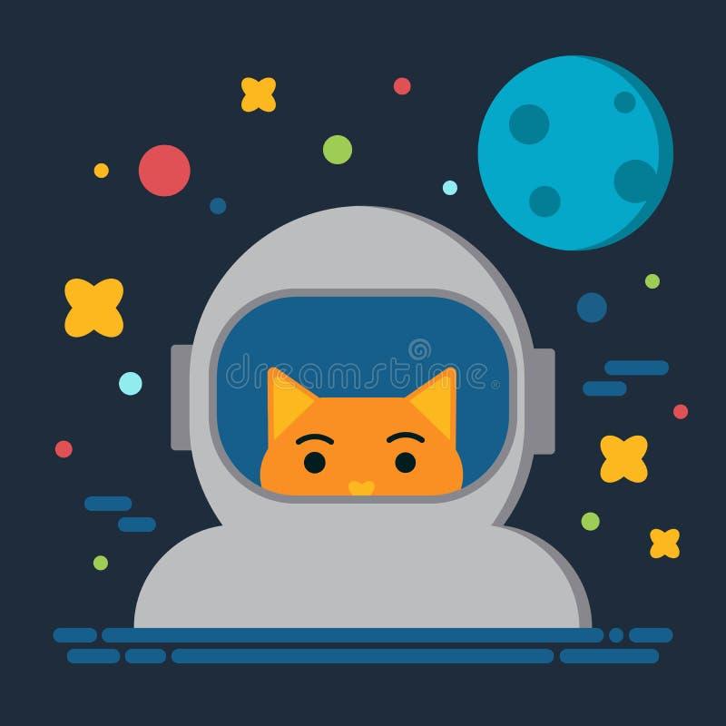 Астронавт кота в иллюстрации вектора космоса, вселенной солнечной системы, луне, дизайне шаржа стартов плоском иллюстрация вектора