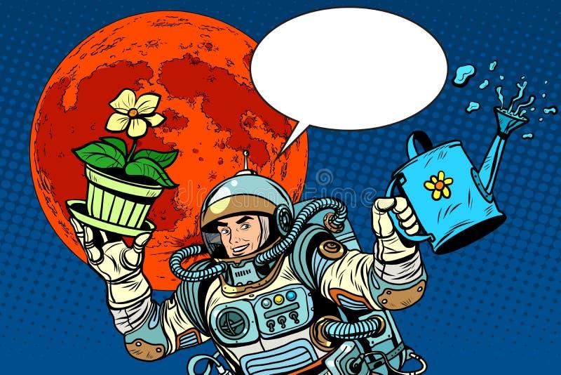 Астронавт Марса колонизации засаживает полив бесплатная иллюстрация