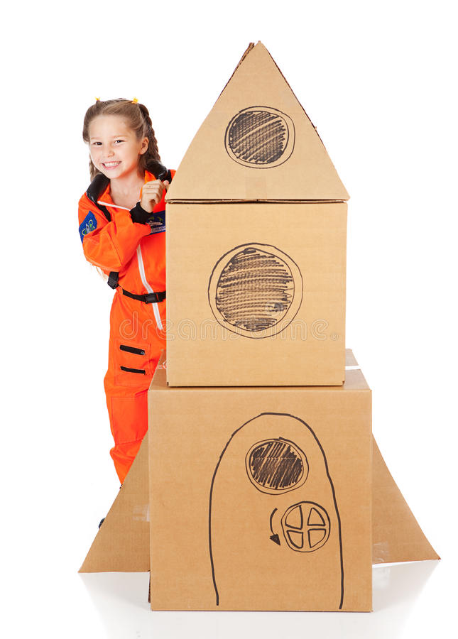 Астронавт: Милый астронавт готовый для космоса стоковое фото rf