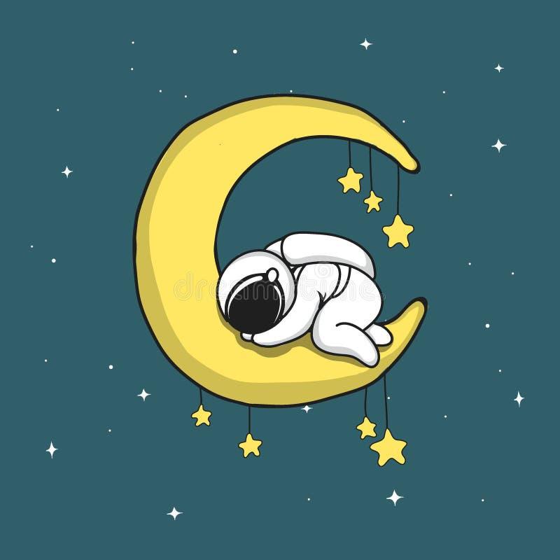 Астронавт младенца спит на серповидной луне бесплатная иллюстрация