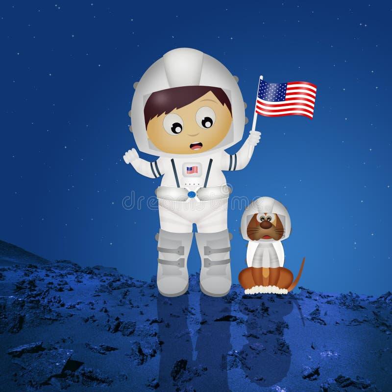 Астронавт младенца с щенком иллюстрация штока