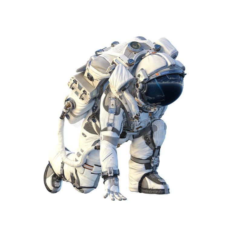 Астронавт на белизне Мультимедиа иллюстрация вектора