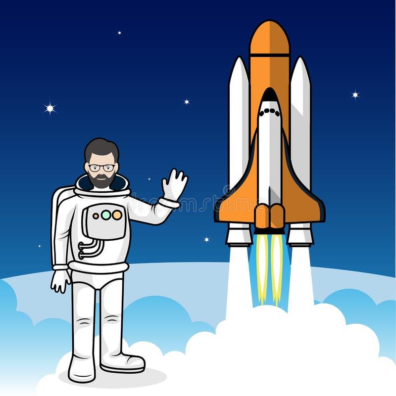 Астронавт на иллюстрации предпосылки космического корабля бесплатная иллюстрация
