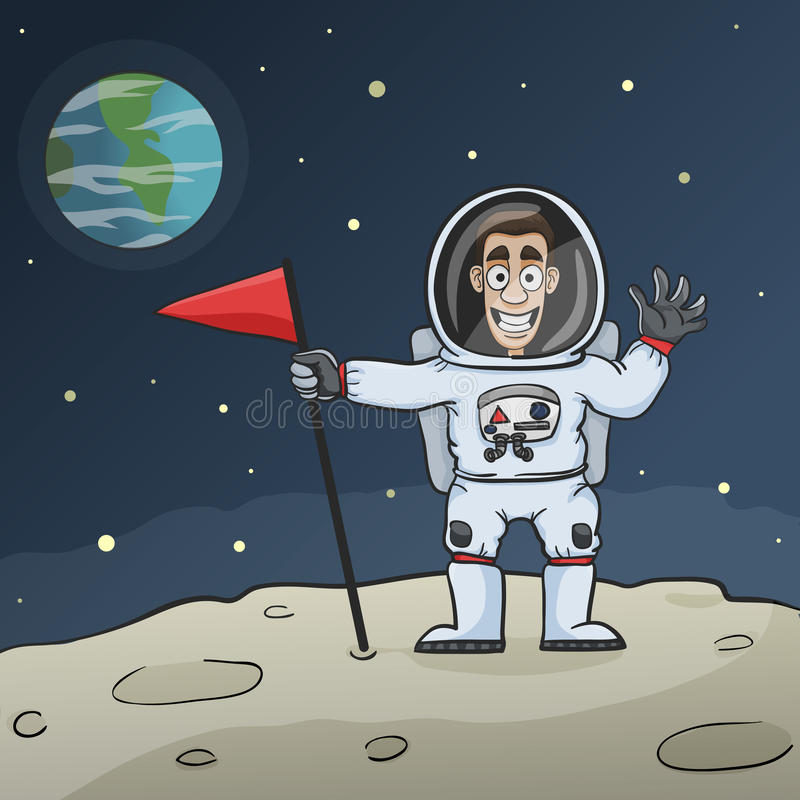 Астронавт на луне иллюстрация вектора