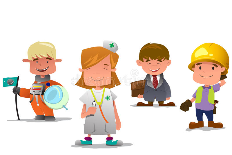 Астронавт, доктор, бизнесмен, и подрядчик бесплатная иллюстрация