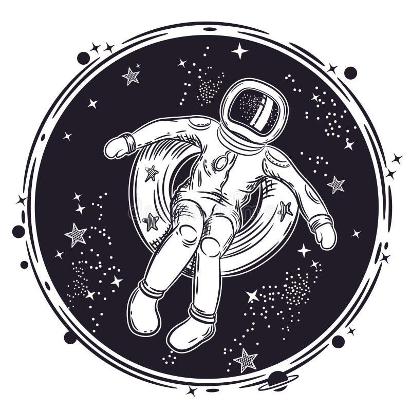 Астронавт плавает в космос на раздувном круге Иллюстрация вектора на теме астрономии Круглая эмблема иллюстрация штока