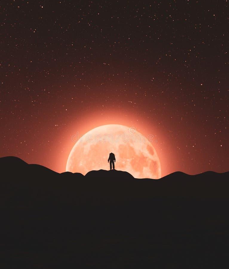 Астронавт поверх горного пика иллюстрация вектора