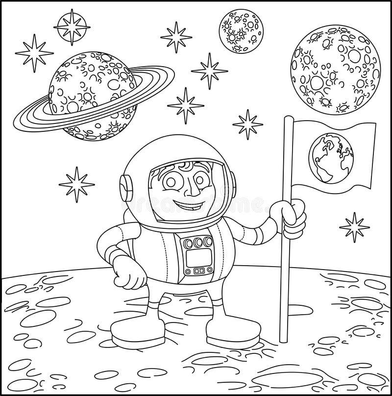 Астронавт сцены мультфильма космоса на луне иллюстрация вектора