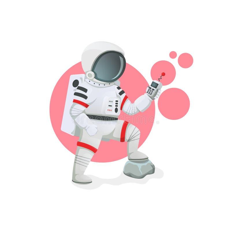 Астронавт с сообщением, GPS, блоком развертки, прибором дистанционного управления с одной ногой на утесе Значок космоса иллюстрация вектора