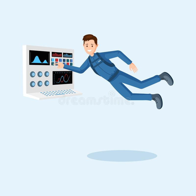 Астронавт тренируя плоскую иллюстрацию вектора Космонавт отжимая кнопку на персонаже из мультфильма пульта управления космическог иллюстрация штока