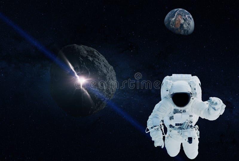 Астронавт уходит от земли которой астероид причаливает r иллюстрация штока