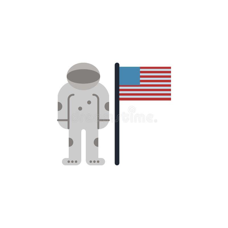 Астронавт, флаг США покрасил значок Элемент иллюстрации космоса Знаки и значок символов можно использовать для сети, логотипа, мо иллюстрация вектора