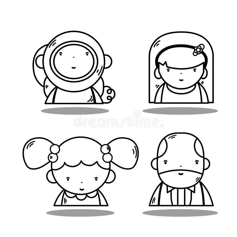 Астронавт kawaii воплощения с бизнесменом и женщинами бесплатная иллюстрация