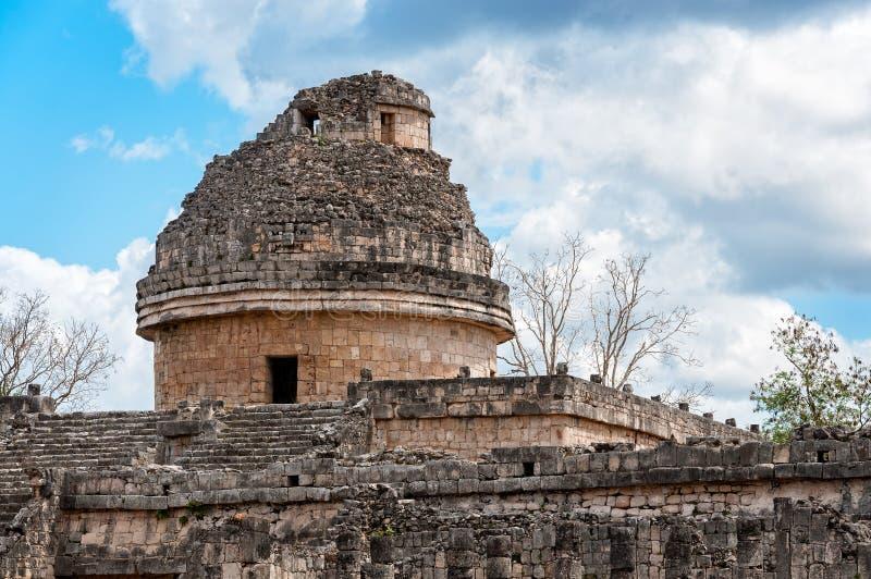 Астрономическая обсерватория El Caracol в Chichen Itza, Мексике стоковые фото