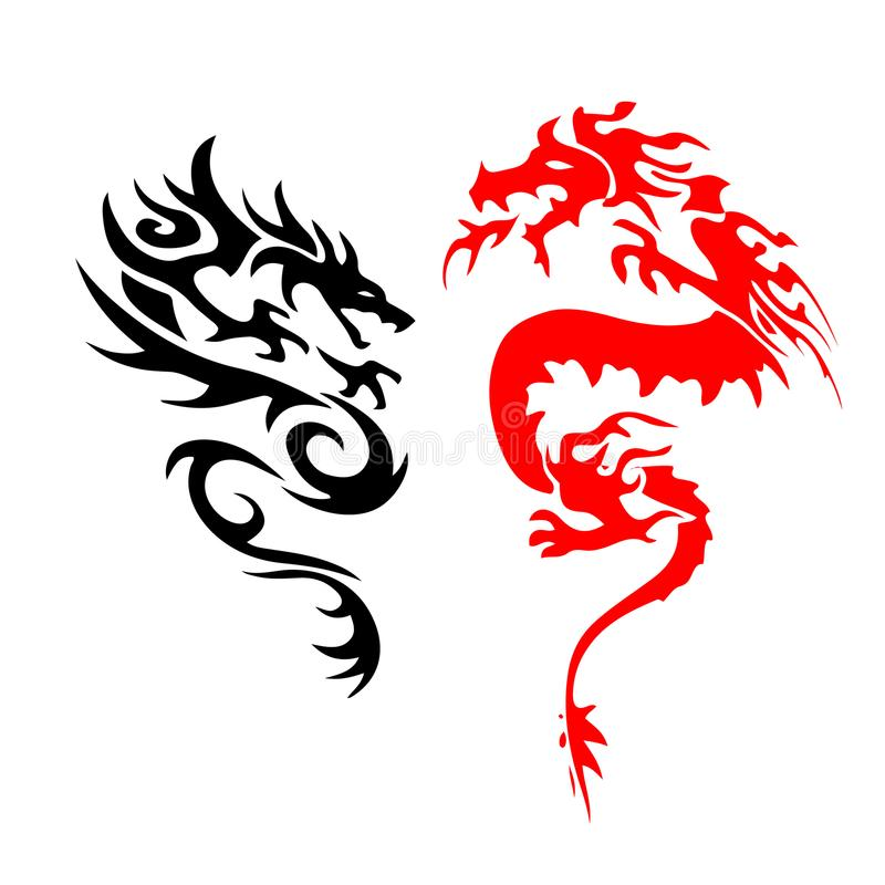 Атаковать дракона силуэта 2 татуировки На белой предпосылке иллюстрация вектора