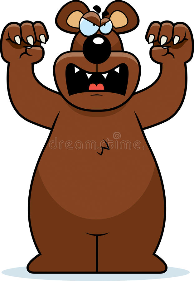 Атаковать медведя шаржа иллюстрация штока