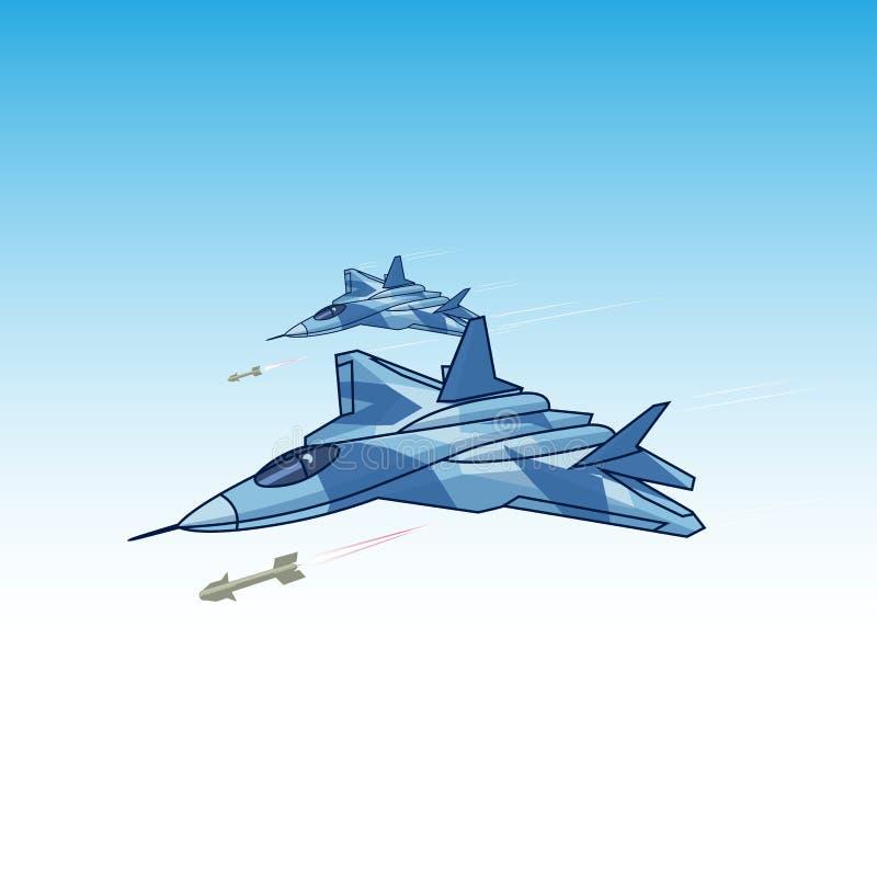 атакуя боец в небе иллюстрация штока