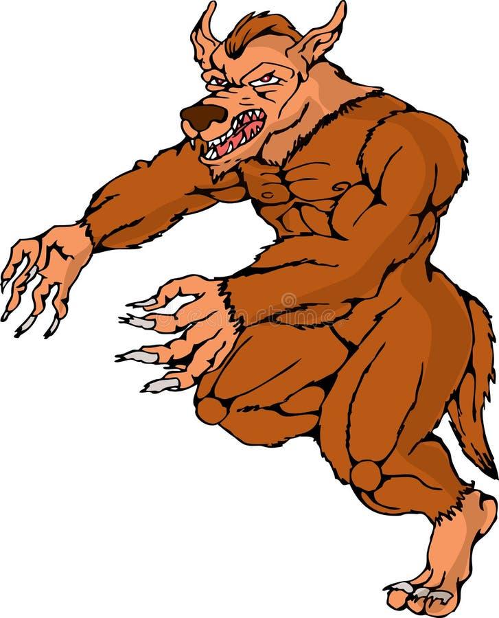 атакуя идущий werewolf wolfman иллюстрация штока