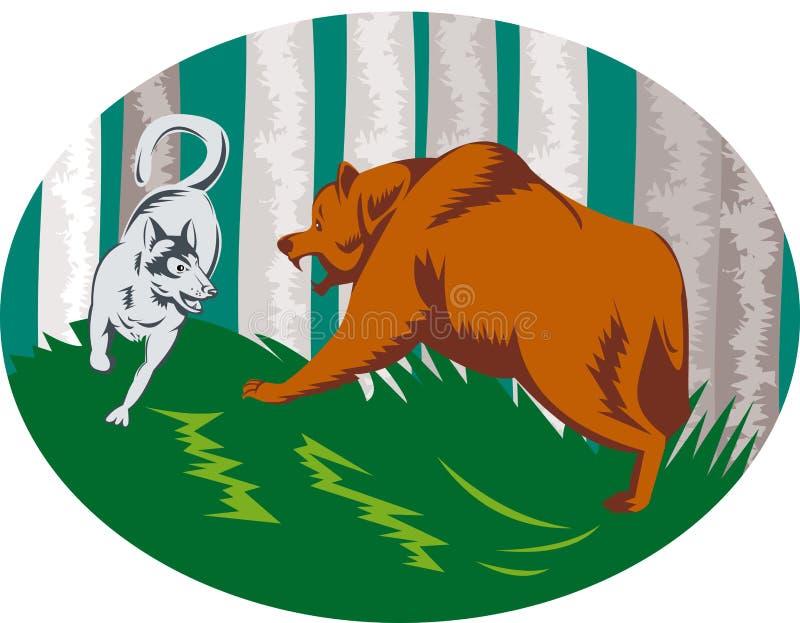 атакуя лайка гризли собаки медведя бесплатная иллюстрация