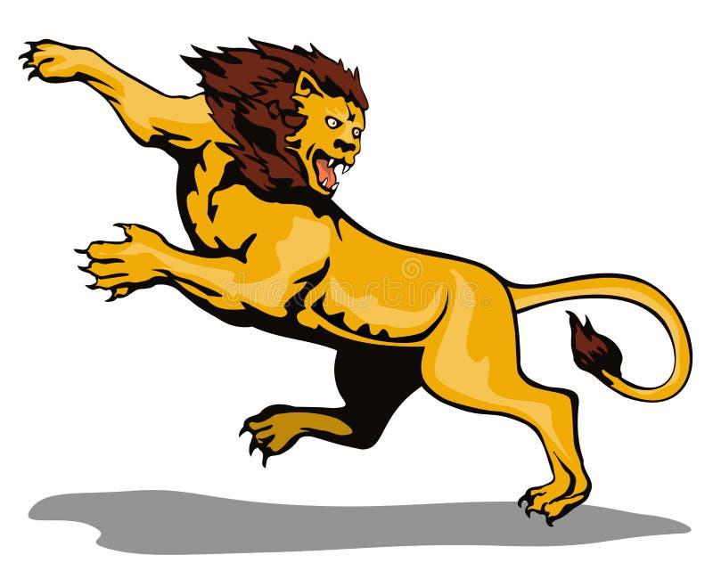 атакуя львев иллюстрация вектора