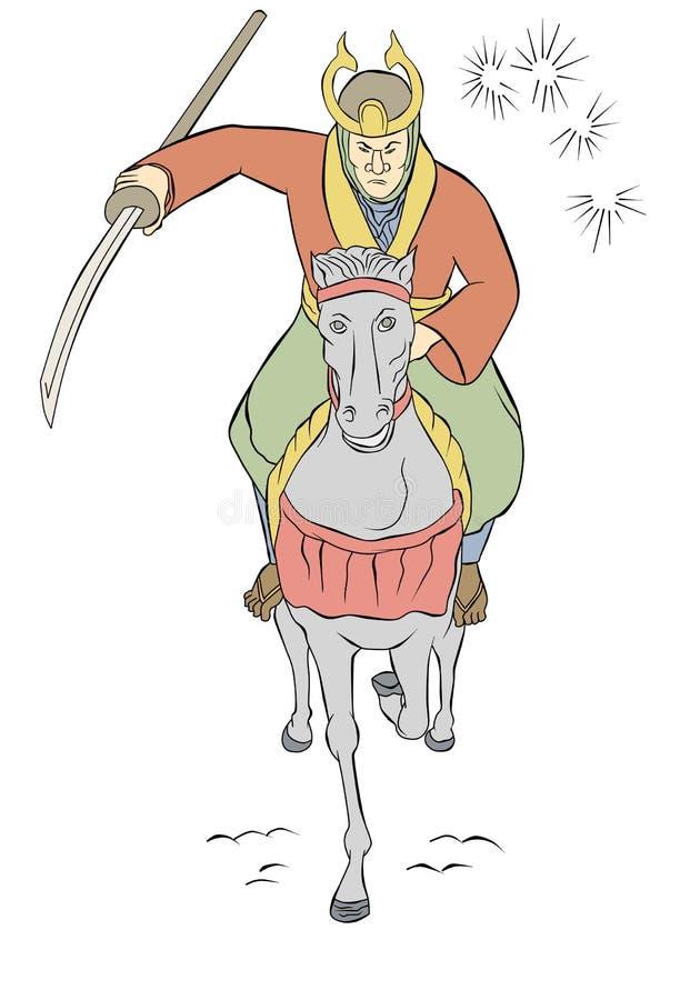 атакуя ратник самураев riding лошади иллюстрация штока