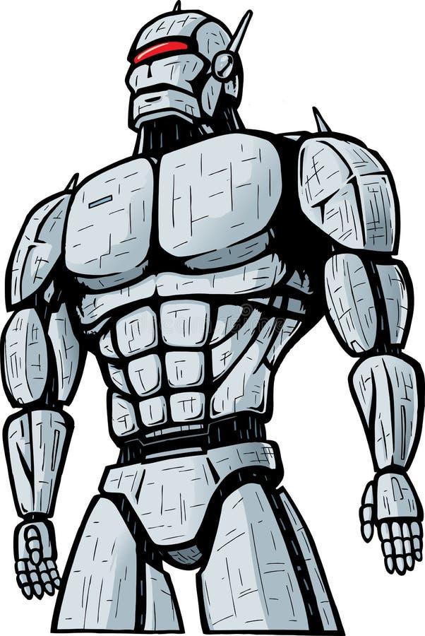 атакуя робот гиганта города иллюстрация штока